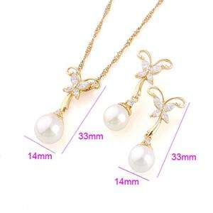 NEW Womens fashion jewelry Gold Plated jewelry set Pearl FREE