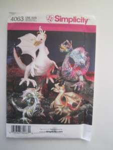SIMPLICITY PATTERN 4063 FANTASY MEDIEVAL DRAGONS IN 3 SIZES, UNCUT