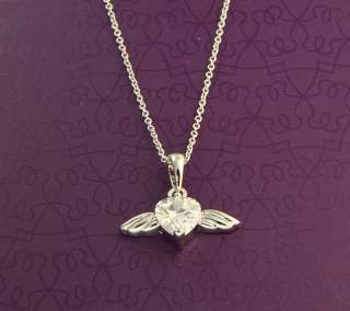 CZ Heart Angel Wing Platinum Plated Necklace For Kids & Adults
