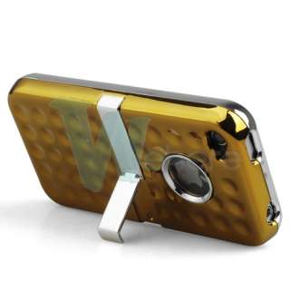 GREEN 3D BLING DELUXE HARD CASE COVER W/CHROME STAND FOR APPLE IPHONE