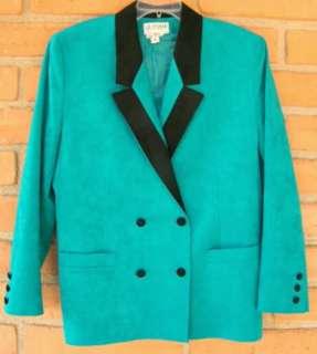 Green & Black Ladies Suede Jacket Coat size Large 14