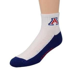 com Arizona Wildcats White Navy Blue Quarter Socks Sports & Outdoors