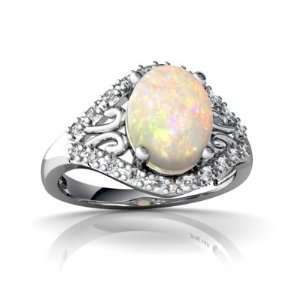 14K White Gold Oval Genuine Opal Ring Size 4 Jewelry