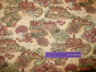 COUNTRY COTTAGE Bird House Flower Tree Nest Fabric BTHY