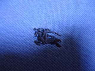 BURBERRY LONDON Mens Large Short Sleeve Polo Shirt ~ Blue w/Classic