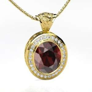 Ovalwhelming Pendant, Oval Red Garnet 14K Yellow Gold Necklace with