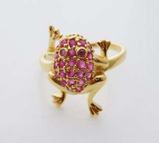 24K Gold Plated Red Frog Cocktail Ring Jewellry 8#