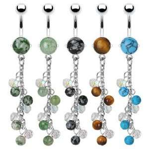 Steel Prong Set Precious Tiger Eye Stone Belly Ring with Multi Stone