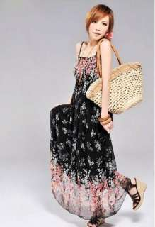 Summer White Chiffon Long Dress Floral Print Free Ship #5069