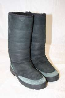 UGG MODEL ULTIMATE TALL BRAID 5340 WOMENS 8 BLACK SUEDE & SHEEPSKIN