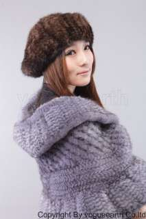 603 new real knit mink fur 3 color hat/caps