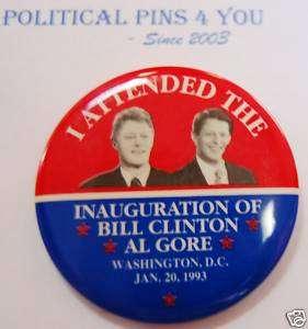 BILL CLINTON Pin Pinback Button GORE 1993 Inauguration