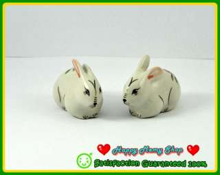 Figurine Ceramic Animal White 2 Rabbit Bunny Flower Hand Painted