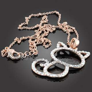 cute cat 18K rose gold swarovski crystal necklace 614