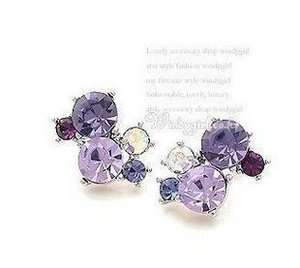 711 Korean Fashion purple crystall Earrings
