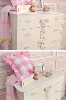 Shabby French Cottage Chic White Bedroom Dresser Highboy 5 Drawers