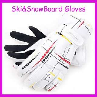 New Waterproofing White&Trickle Ski Snowboard Gloves XL