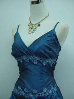 Cherlone Plus Size Satin Dark Blue Prom Gown Ball Wedding/Evening