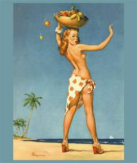 SEXY Gil Elvgren Pinup Girl MOUSE PAD TROPICAL Vargas