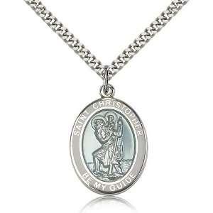 925 Sterling Silver St. Saint Christopher White Border Penda 1 x 3/4