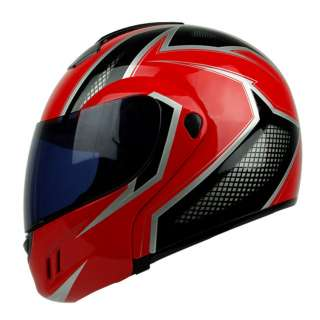 PGR MEGA Red Black Flip Up Modular DOT APPROVED Motorcycle Full Face