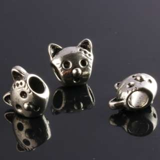 Cute Cat Head Tibetan Silver European Charm Beads 25PCS