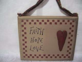 Faith Hope Love Heart Wood Wall/Door Sign Country Primitive New