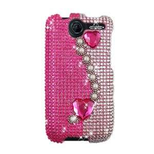 HOT PINK HEARTS BLING HARD CASE COVER FOR HTC DESIRE G7 PROTECTOR SNAP