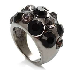 Jet Black Crystal Band Ring   size 7 Jewelry