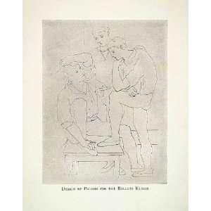 1928 Print Pablo Picasso Ballet Russes Dance Sketch