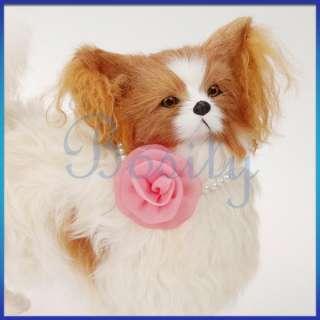 Dog Cat Pet Necklace Beaded Necklace Pink Rose Flower Wedding Collar