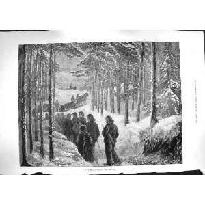 1881 Funeral Norway Snow Ice Forest Trees Fine Art