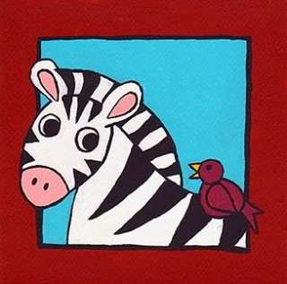 ORIGINAL Zebra Bird Acrylic Painting Baby Kid Room Art