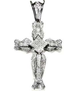 MENS 1.85CT ROUND DIAMOND CROSS PENDANT WHITE GOLD