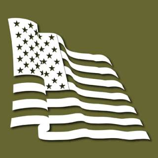 Waving US Flag Stars Stripes Vinyl Decal Sticker VLUSF2