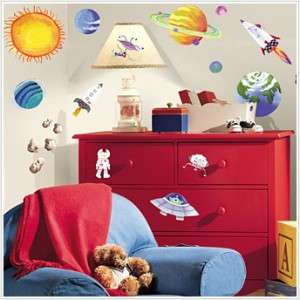 New OUTER SPACE WALL DECALS Planets Stars Stickers Boys Bedoom Decor