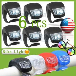 Silicone LED Bike Light Bicycle White Lamp Waterproof Head Tail Wheel