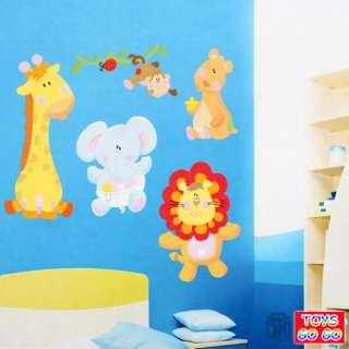 This is a bid for 3D Animal Adhesive Wall Sticker include 6 different