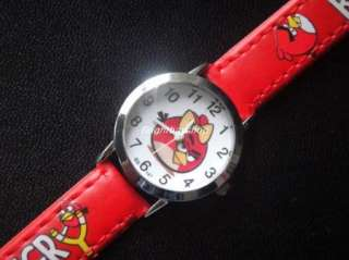 Red Angry Bird 3D Cartoon Leather Quartz Wrist Watch Lady Girl Gift