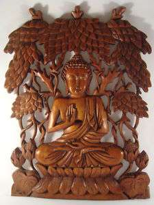 16 Hand Carved Bali Wood Buddha Wall Relief Panel