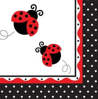 Fancy Ladybug Polka Dot Baby Shower Lunch Napkins x 16