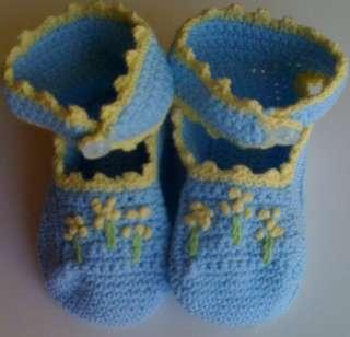 Crochet Baby Boy Booties Reborn Doll Blue w/Yellow Trim