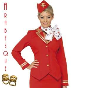 RED AIR HOSTESS STEWARDESS FANCY DRESS COSTUME 8 10