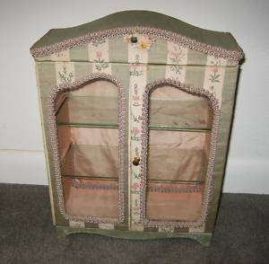 French floral fabric glass doors vitrine display case for antique doll