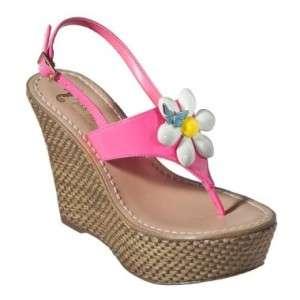MISS TRISH Capri Target Pink Daisy Flower Wedge Sandals
