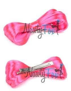 MINI HOT PINK LADY GAGA HAIR BOW WIG CLIP ON ACCESSORY