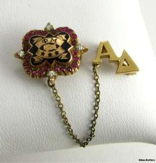 PHI MU   Diamonds Rubies 10k Yellow Gold Greek sorority Vintage Pin