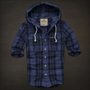 NWT Hollister Ventura Beach plaid hoodie button shirt mens $68 New S M
