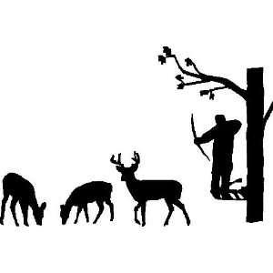 Bow Hunter In Tree Hunting Deer or Elk, Elk, Hunting, Vinyl Car Decal