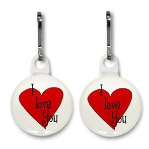 I LOVE YOU HEART Valentines Day 2 Pack 1 Zipper Pull